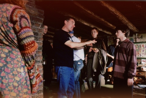 Chris Columbus and Daniel Radcliffe behind the scenes of Chamber of Secrets