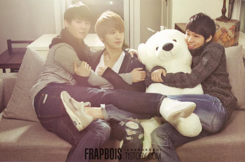 Chunie hugging a teddy bear...Junsu hugging Jae(?)
