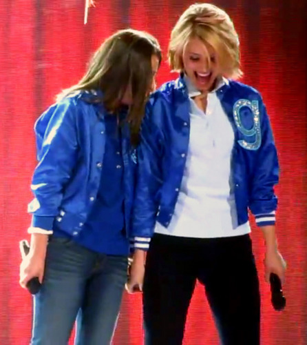 Lea Michele and Dianna Agron wallpaper with a well dressed person and an outerwear called Dianna&Lea {Glee Live Tour 2011}
