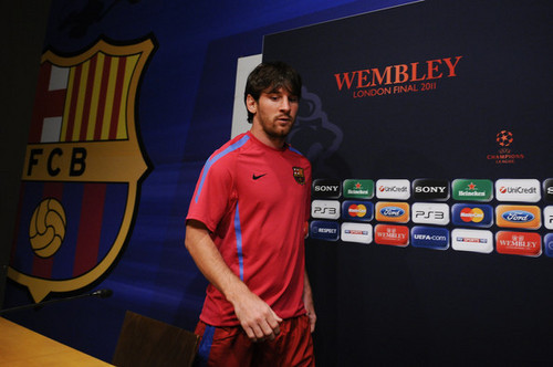FC Barcelona Media Open 日 Ahead Of UEFA Champions League Final (Lionel Messi)