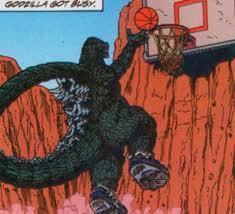 Go Godzilla! Win the basketbal game!