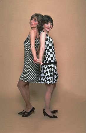 Laverne & Shirley wallpaper possibly with a cocktail dress and a chemise called Laverne & Shirley