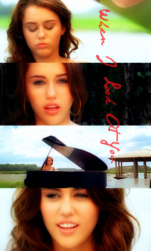 miley cyrus wallpaper possibly with a sign and a portrait titled Miley Cyrus- When I Look At You!