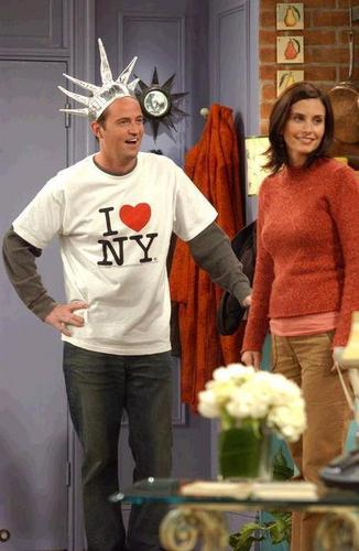 Monica and Chandler wallpaper possibly containing an outerwear, long trousers, and a leisure wear called Mondler