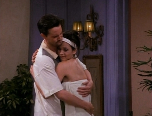 Monica and Chandler wallpaper probably containing a bathrobe and a nightgown titled Mondler