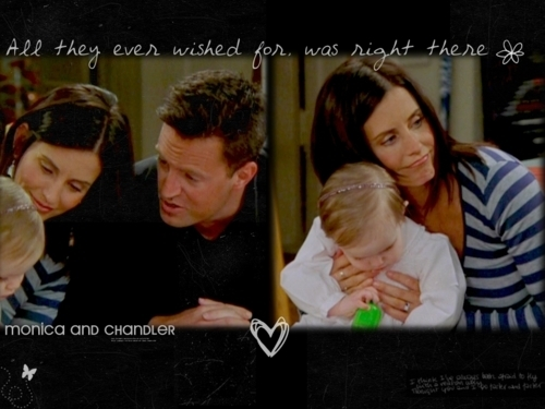 Monica and Chandler wallpaper probably containing a sign and a portrait called Mondler