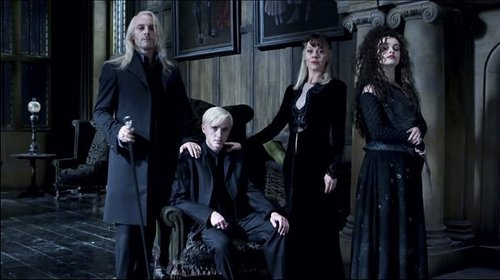 Narcissa, Lucius and Draco Malfoy with Bellatrix