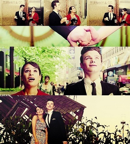 glee wallpaper with a business suit titled Rachel and Kurt