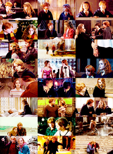 Ron and Hermione, from the Philosopher's Stone to the Deathly Hallows, part II.