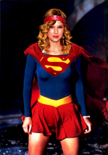 Taylor Swift wallpaper probably containing a hip boot, tights, and hot pants titled Taylor Swift as 80's Supergirl