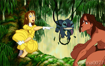 Walt Disney Characters karatasi la kupamba ukuta probably containing anime entitled Walt Disney shabiki Art - Stitch meets Tarzan