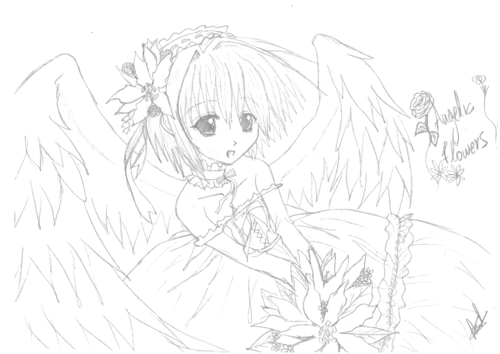 Anime drawing wallpaper possibly containing anime called anime angel