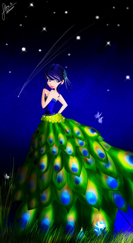 musa in peacock dress