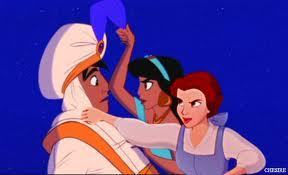 Belle, Jasmine, and Aladdin