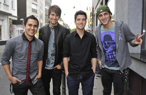 big time rush wallpaper with a street, long trousers, and a faixa de rodagem, calçada titled Big Time Rush in Cologne, Germany (May, 26th 2011)