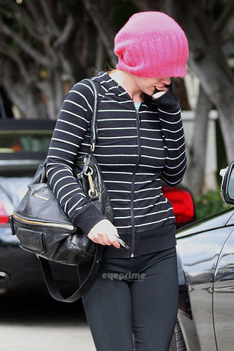 Christina Ricci Covers Up as She Leaves a Salon in Hollywood, May 18