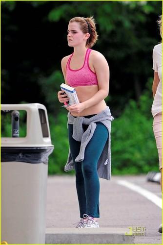 Emma Watson Bares Midriff in Sports Bra