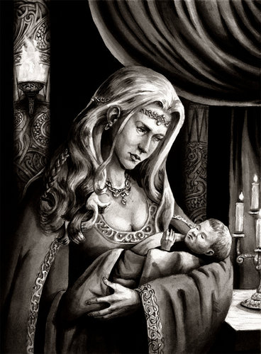Frigg with infant Balder