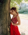 Helena in red dress