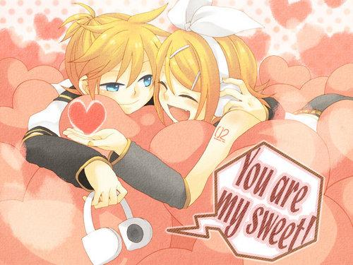 Rin und Len Kagamine Hintergrund called Kagamine Rin and Len - Sweet x3