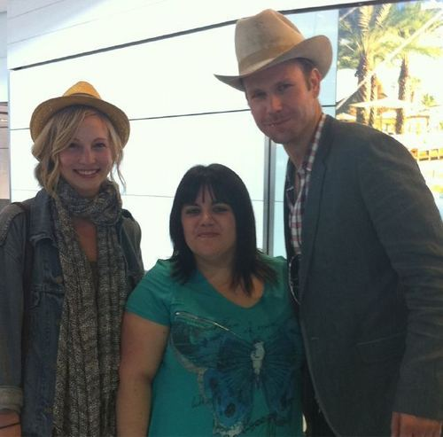 Candice Accola wallpaper possibly with a boater and a street called New photo of Candice and Matt Davis with a fan!