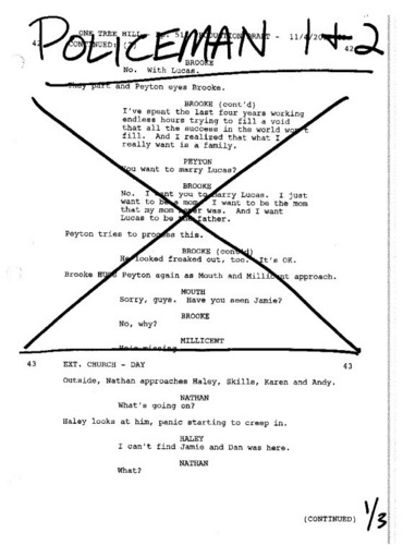 Orginal script that proves Brooke wanted Lucas to father her baby in S5