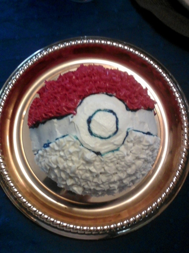 Anime Hintergrund possibly with a lunch and an antipasti, antipasto titled Pokeball Cake