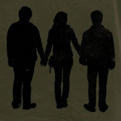 Silhouettes of the trio as they band together to fight the dark forces at Hogwarts for the last time