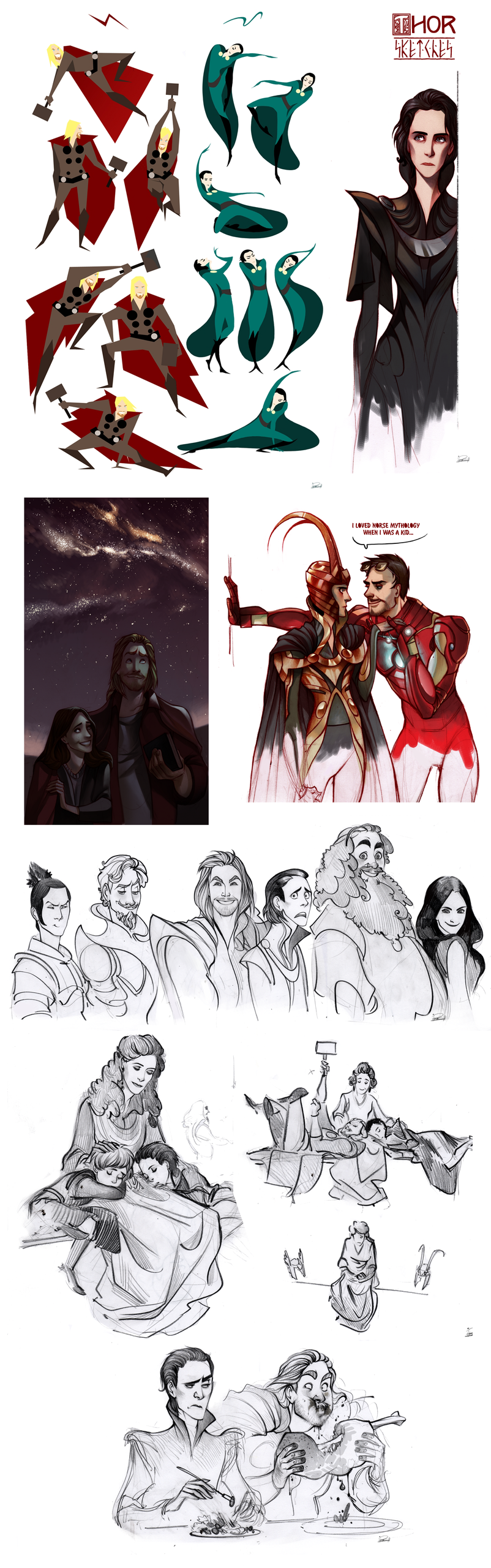 Thor Sketchdump (lots of Loki)