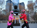 red and pink rangers in new york city 1-12 - power-rangers-samurai photo