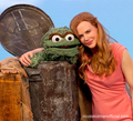 Nicole and Oscar the Grouch on Sesame Street