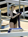 Christina Hendricks relaxing 由 the Hotel Pool in Lake Como, Italy.