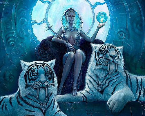 Fantasy Snow Queen with Guard Tigers