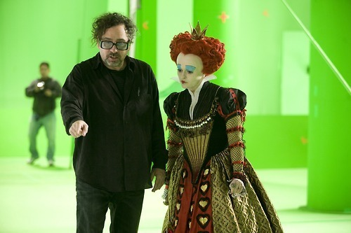 Helena and Tim on set Alice in Wonderland