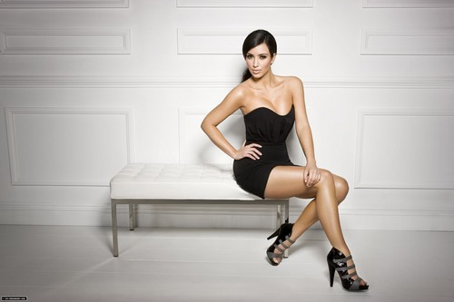 Kim Kardashian wallpaper containing a leotard and a maillot called ShoeDazzle.com Promotional Photoshoot