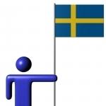 Swedish animated flag with cartoon stick person.