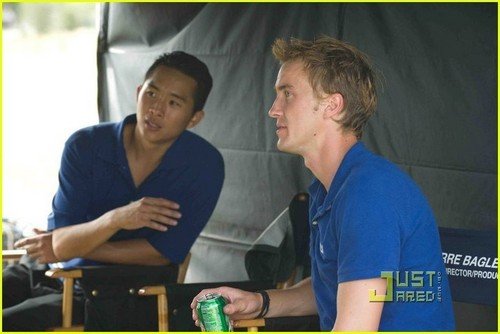 Tom Felton wallpaper possibly with a sign and a brasserie called Tom Felton & Justin Chon: 'From The Rough' Trailer!
