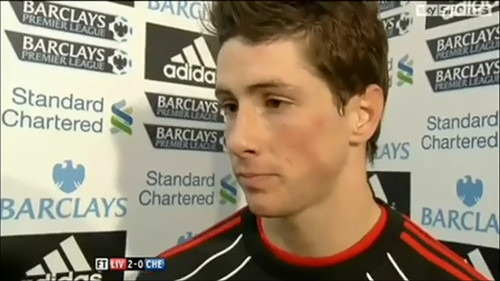 Fernando Torres wolpeyper entitled Torres post Chelsea match interview 07/11/2010