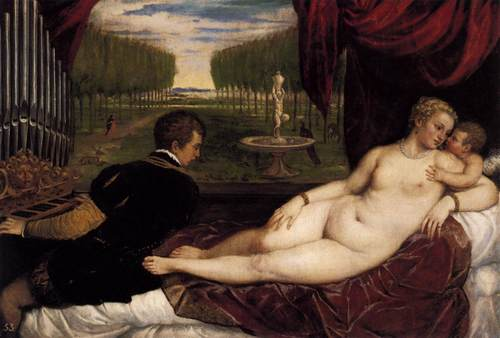 Fine Art Hintergrund with skin entitled Venus with Organist and Cupid Von Titian