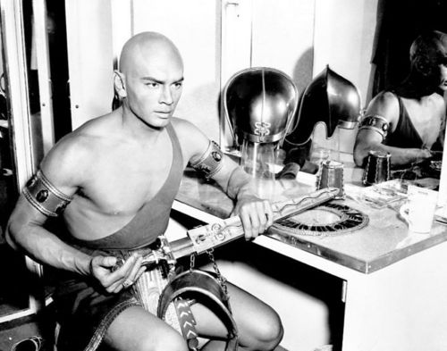 "Yul Brynner wallpaper probably containing a spatula and a kitchen called Yul Brynner in dressing room in the movie ""The Ten Commandments"""
