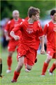 justin bieber playing soccer at starford, ontario field!!