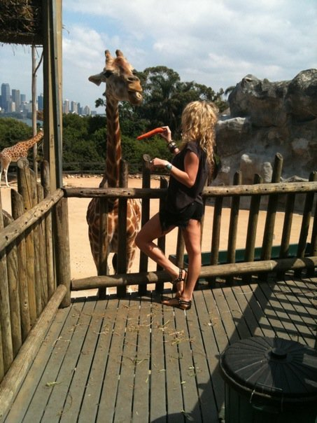 Ke$ha with a giraffe