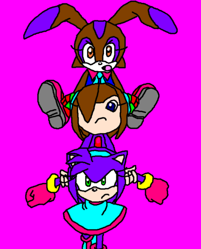 lollypop the rabbit rose the seedrain and crystal the hedgehog (me)