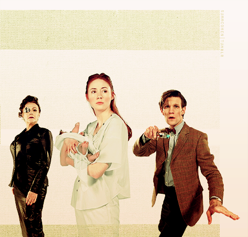 the Doctor, the Eye Patch Lady and Amy