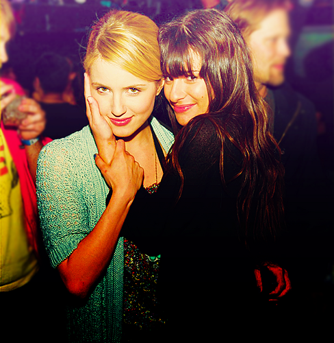 Lea Michele and Dianna Agron wallpaper possibly with a bouquet entitled Achele.