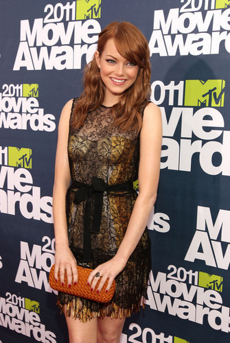 Actress Emma Stone arrives at the 2011 MTV Movie Awards