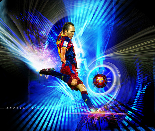Andrés Iniesta FC Barcelona karatasi la kupamba ukuta
