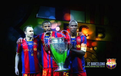 Andres Iniesta, Seydou Keita and Eric Abidal CL 2010/11 - fc-barcelona Wallpaper
