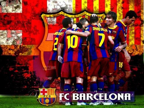 FC Barcelona پیپر وال titled Barcelona Players Celebrating 2010/11