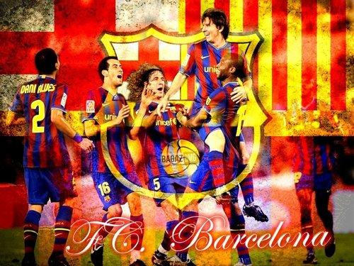ФК Барселона Обои with Аниме called Barcelona Players Celebrating 2010/11